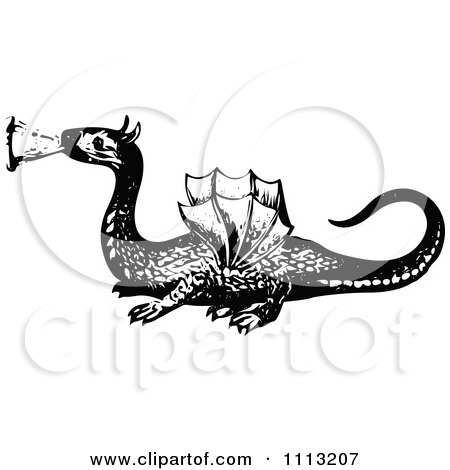 Clipart Vintage Black And White Dragon 2 - Royalty Free Vector Illustration by Prawny Vintage