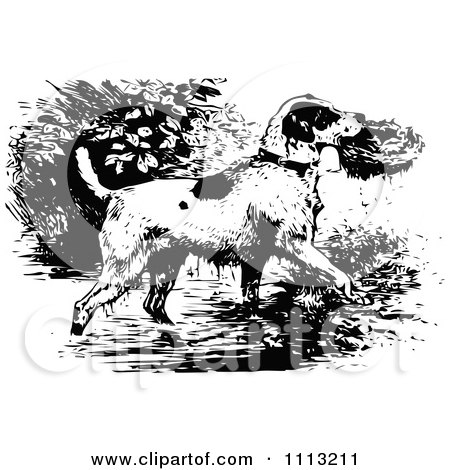 Clipart Vintage Black And White Dog Rescuing A Bird Nest - Royalty Free Vector Illustration by Prawny Vintage