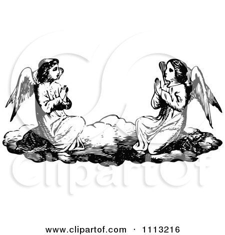 Clipart Vintage Black And White Angels Praying On A Cloud - Royalty Free Vector Illustration by Prawny Vintage