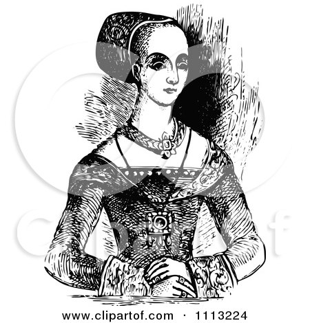 Clipart Vintage Black And White Elizabethan Lady - Royalty Free Vector Illustration by Prawny Vintage