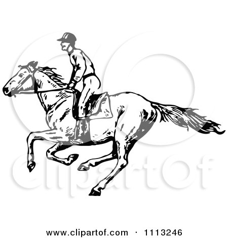Clipart Vintage Black And White Jockey On A Galloping Horse 1