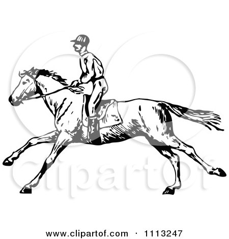 Clipart Vintage Black And White Jockey On A Galloping Horse 2