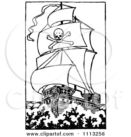 Pirate ship clip art black and white - photo#20