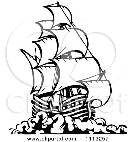 Clipart Black And White Pirate Ship 3 - Royalty Free Vector Illustration by Prawny Vintage