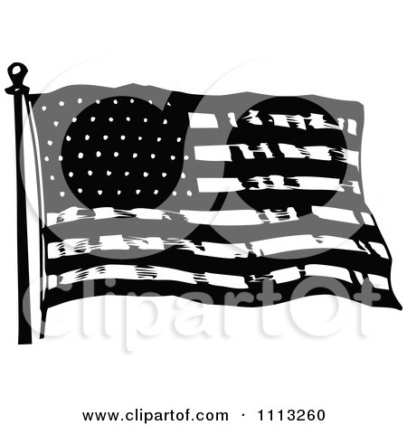 Clipart Vintage Black And White Waving American Flag - Royalty Free Vector Illustration by Prawny Vintage