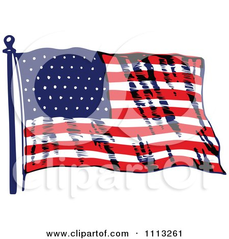 Clipart Vintage Waving American Flag - Royalty Free Vector Illustration by Prawny Vintage