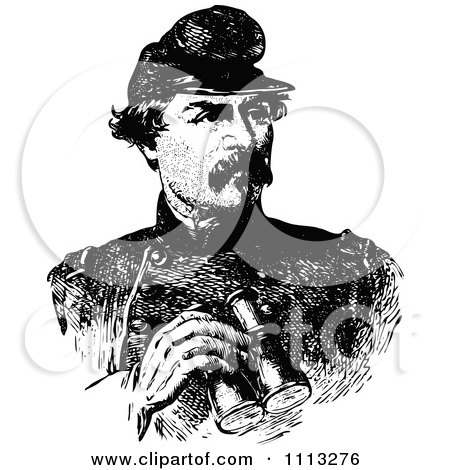 Clipart Vintage Black And White Portrait Of General George McClellan - Royalty Free Vector Illustration by Prawny Vintage