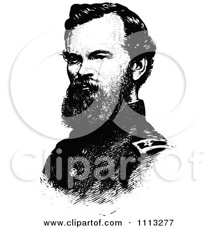 Clipart Vintage Black And White Portrait Of General James McPherson - Royalty Free Vector Illustration by Prawny Vintage