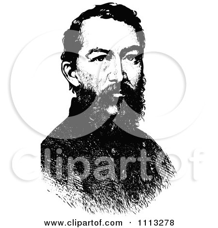Clipart Vintage Black And White Portrait Of General Philip Sheridan - Royalty Free Vector Illustration by Prawny Vintage