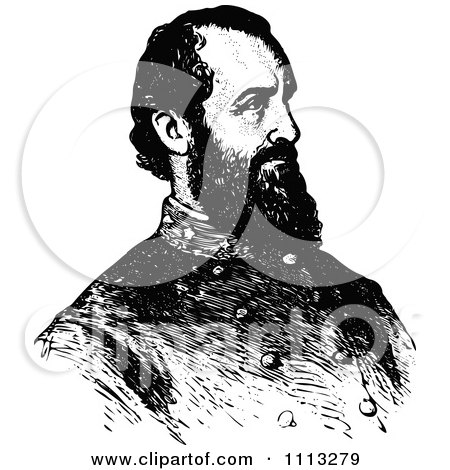 Clipart Vintage Black And White Portrait Of General Stonewall Jackson - Royalty Free Vector Illustration by Prawny Vintage