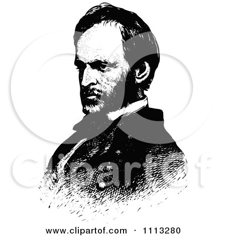 Clipart Vintage Black And White Portrait Of General William Sherman - Royalty Free Vector Illustration by Prawny Vintage