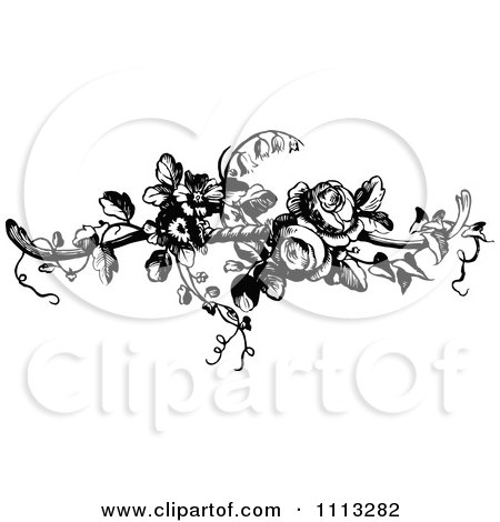 Clipart Vintage Black And White French Rose Design Element 2 - Royalty Free Vector Illustration by Prawny Vintage