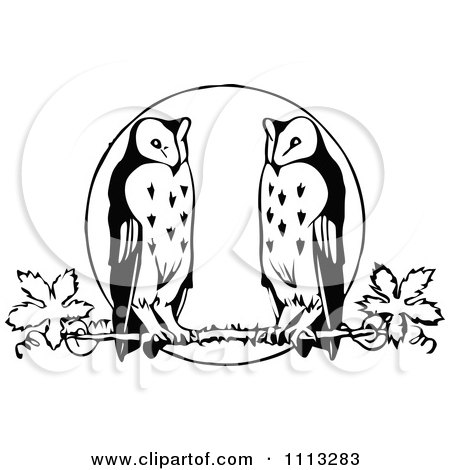 Clipart Vintage Black And White Owls Perched Against A Full Moon - Royalty Free Vector Illustration by Prawny Vintage