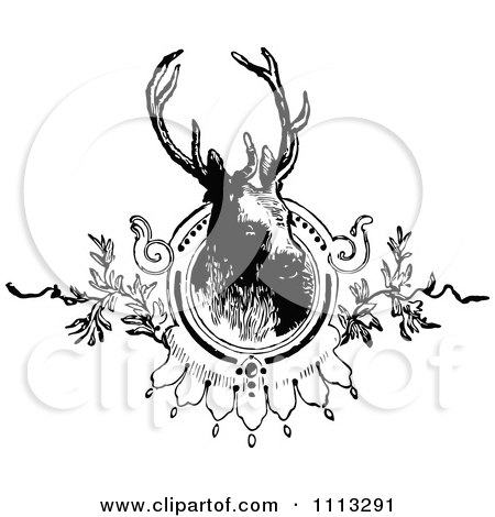 Clipart Vintage Black And White Deer Stag Mounted - Royalty Free Vector Illustration by Prawny Vintage