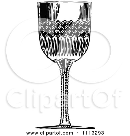 Clipart Vintage Black And White Glass Goblet - Royalty Free Vector Illustration by Prawny Vintage