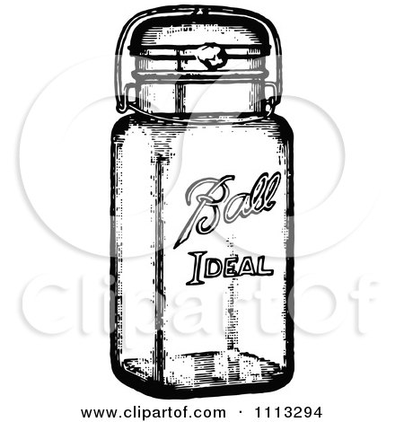 Clipart Vintage Black And White Canning Jar Royalty Free