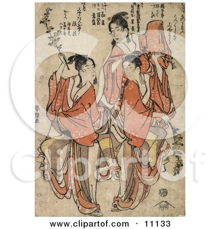Three Asian Women Dancing Posters, Art Prints