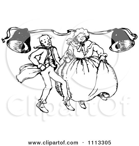 Clipart Vintage Black And White Couple Dancing Under Bells - Royalty Free Vector Illustration by Prawny Vintage