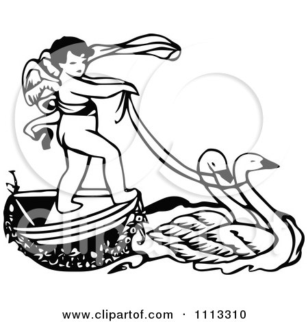 Clipart Vintage Black And White Cherub Riding On A Swan Boat - Royalty Free Vector Illustration by Prawny Vintage