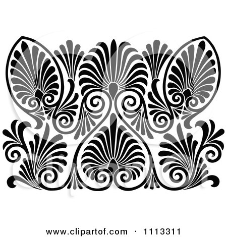 Clipart Vintage Black And White Art Deco Pattern Royalty Free Vector Illustration By Prawny