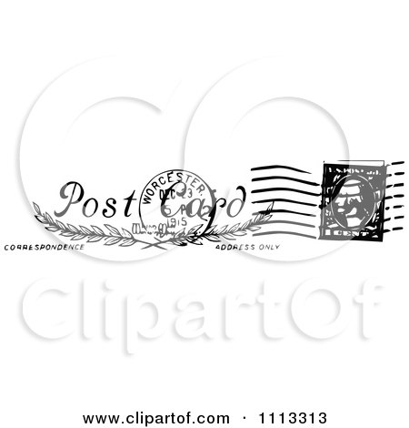 Clipart Vintage Black And White Postal Stamp With A Postmark - Royalty    Rush Delivery Stamp