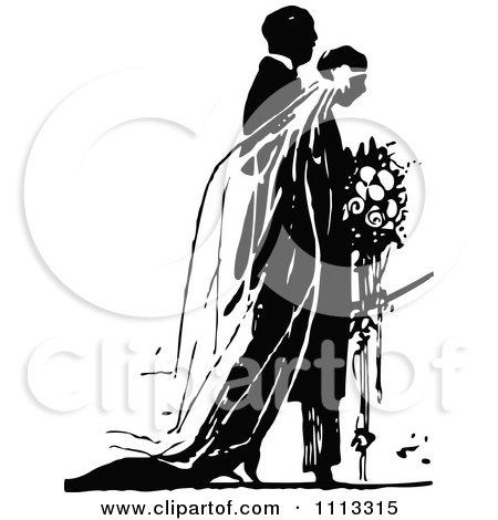 Clipart Vintage Black And White Wedding Couple During Their Ceremony - Royalty Free Vector Illustration by Prawny Vintage