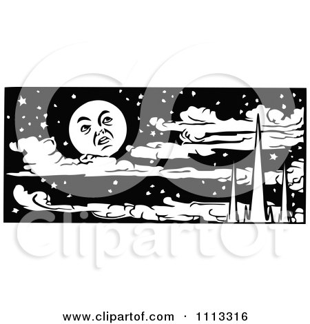 Clipart Vintage Black And White Moon Over Mountains And Clouds In A Night Sky - Royalty Free Vector Illustration by Prawny Vintage