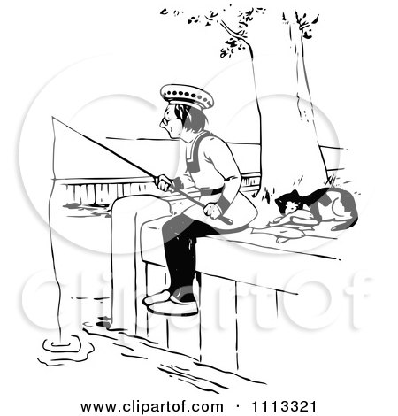Clipart Vintage Black And White Cat Resting By A Man Fishing - Royalty Free Vector Illustration by Prawny Vintage