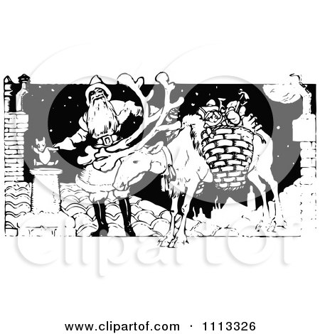 Clipart Vintage Black And White Santa And Reindeer On A Roof - Royalty Free Vector Illustration by Prawny Vintage