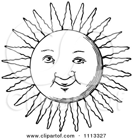 Clipart Vintage Black And White Sun Face - Royalty Free ...