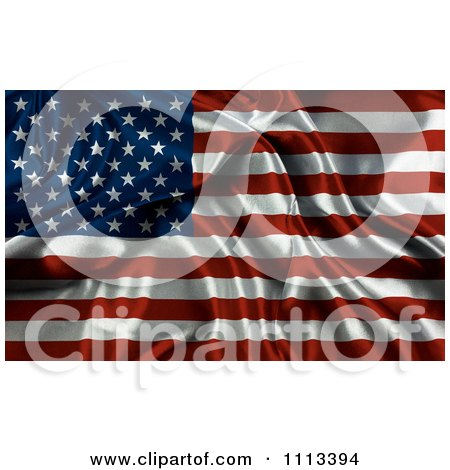 Clipart Rippled Silk American Flag - Royalty Free CGI Illustration by KJ Pargeter