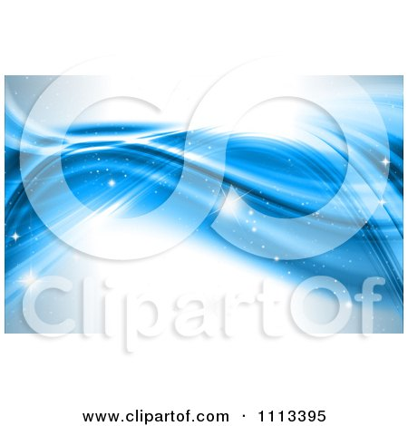 Clipart Blue Wave Background With Sparkles - Royalty Free CGI Illustration by KJ Pargeter