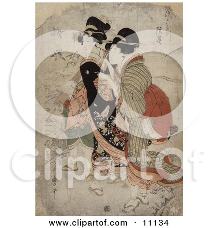 the Asian Courtesan Michinoku With Attendant Clipart Picture by JVPD