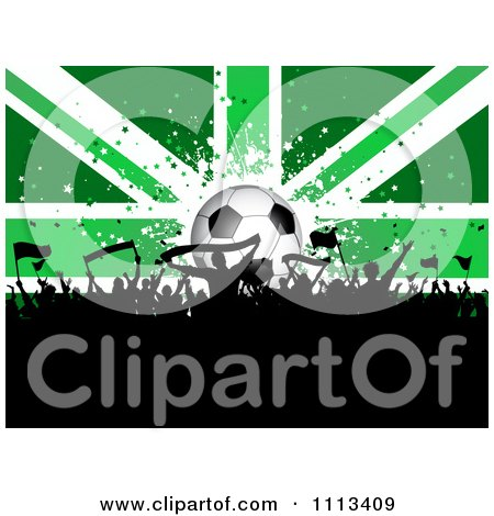 Clipart Silhouetted Cheering Crowd Against A Green Soccer Ball Union Jack Flag - Royalty Free Vector Illustration by KJ Pargeter