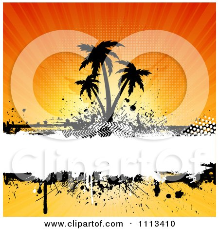 Clipart Grungy Silhouetted Palm Trees Over Grunge Against Rays - Royalty Free Vector Illustration by KJ Pargeter
