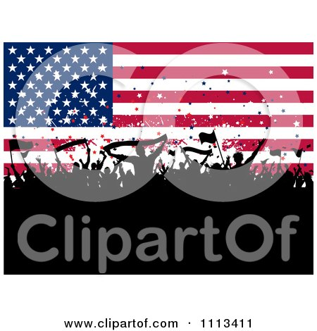 Clipart Silhouetted Cheering Crowd Against An American Flag Royalty Free Vector Illustration