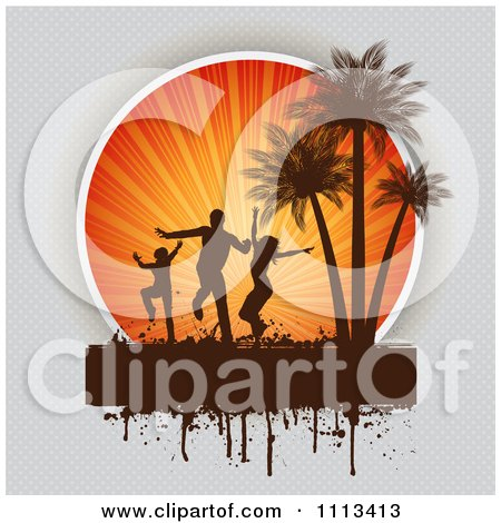 Clipart Silhouetted Beach Party Dancers Against Sun Rays And Palm Trees With Grunge On Gray - Royalty Free Vector Illustration by KJ Pargeter