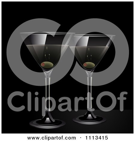 Clipart Martinis And Olives On Black - Royalty Free Vector Illustration by elaineitalia