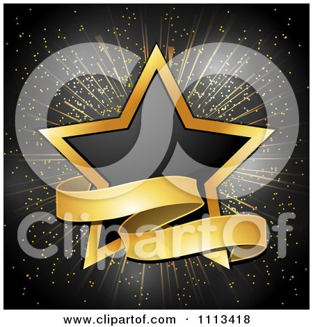 Clipart Black And Gold Star With A Ribbon Banner - Royalty Free Vector Illustration by elaineitalia