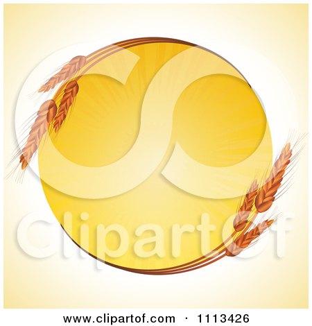 Clipart Round Wheat Frame With A Burst Of Sunshine - Royalty Free Vector Illustration by elaineitalia
