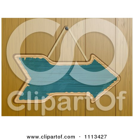Clipart Blue Arrow Sign On A Wood Paneled Wall - Royalty Free Vector Illustration by elaineitalia