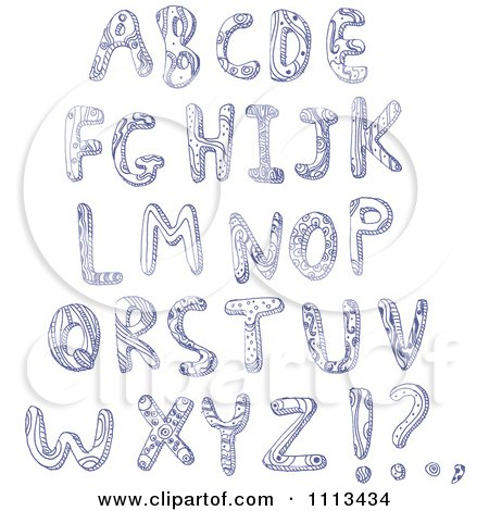 Clipart Blue Ink Doodled Capital Letters - Royalty Free Vector Illustration by yayayoyo