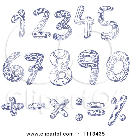 Clipart Blue Ink Doodled Numbers And Math Symbols - Royalty Free Vector Illustration by yayayoyo