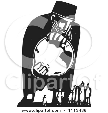 Clipart God Holding The Earth Above People Black And White Woodcut - Royalty Free Vector Illustration by xunantunich