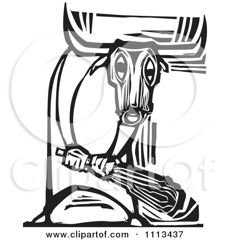 Minotaur Holding A Club Black And White Woodcut Posters, Art Prints