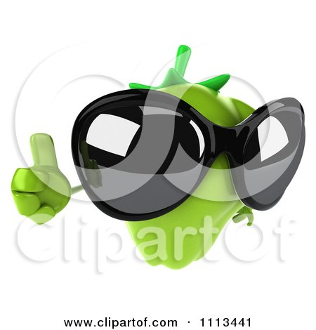 Clipart 3d Green Bell Pepper Wearing Sunglasses And Holding A Thumb Up - Royalty Free CGI Illustration by Julos