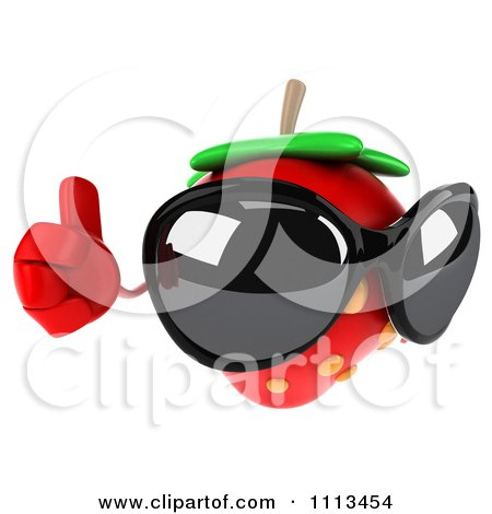 Clipart 3d Strawberry Wearing Sunglasses And Holding A Thumb Up - Royalty Free CGI Illustration by Julos
