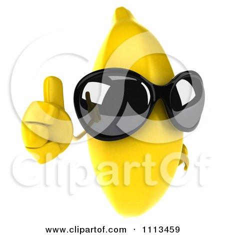 Clipart 3d Banana Wearing Sunglasses And Holding A Thumb Up - Royalty Free CGI Illustration by Julos