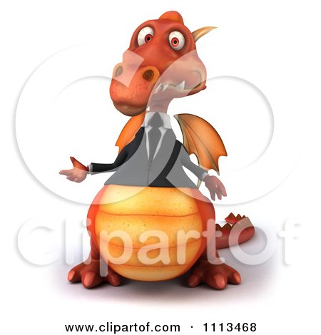 Clipart 3d Red Business Dragon Presenting - Royalty Free CGI Illustration by Julos