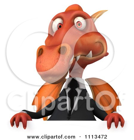 Clipart 3d Red Business Dragon Holding A Sign 2 - Royalty Free CGI Illustration by Julos